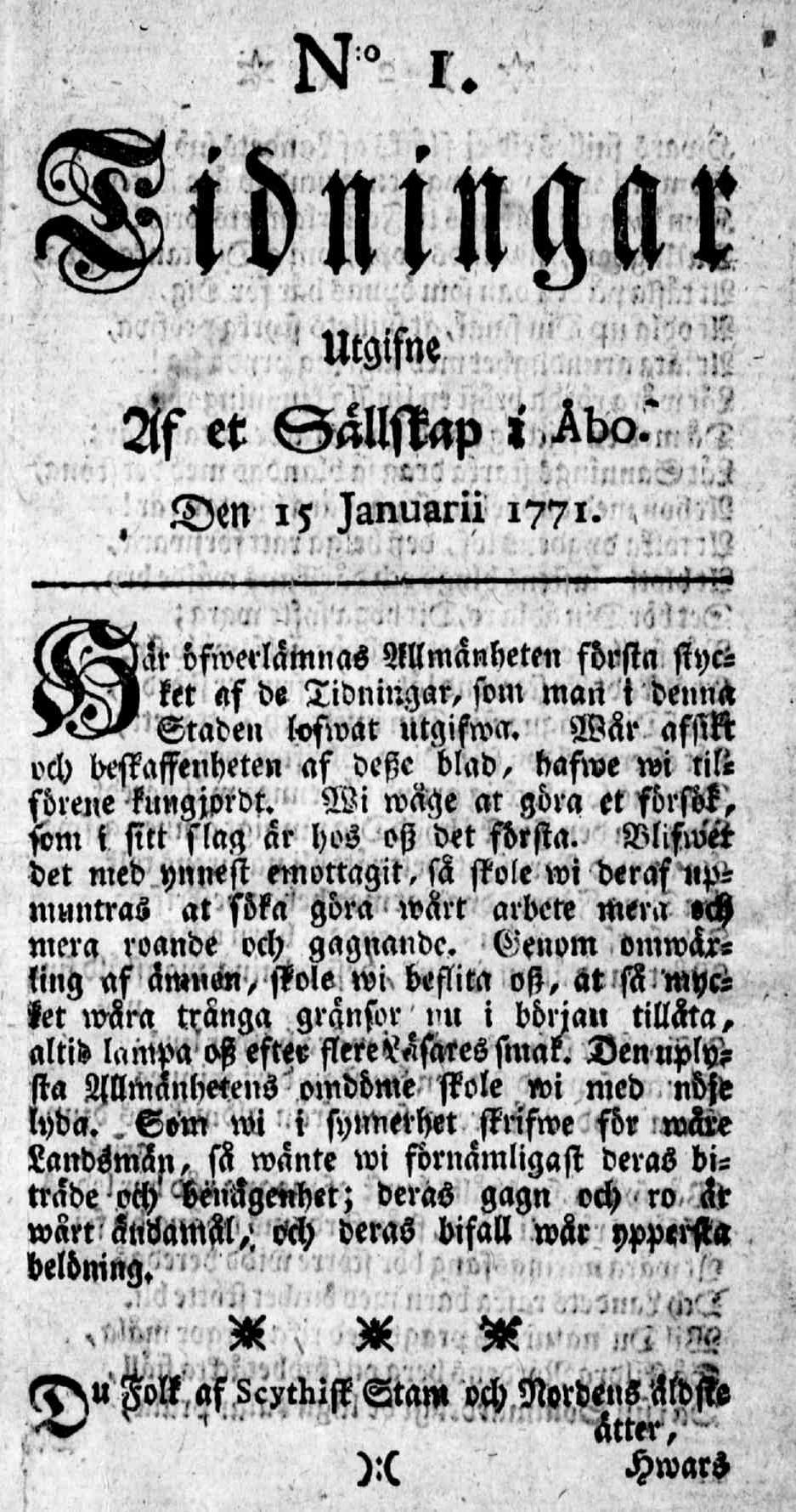 Tidningar Utgifne af et Sällskap i Åbo, 15.1.1771, nro 1, sivu 1